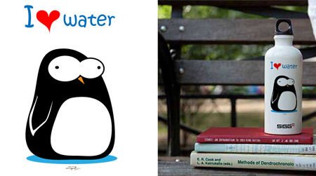 I Heart Water (Penguin) Water Bottle