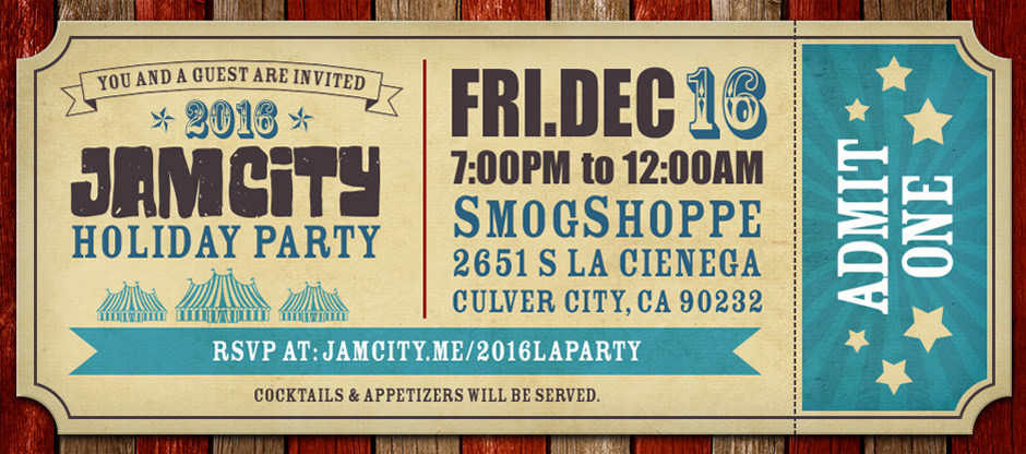 Jam City LA Holiday Party 2016 Invite